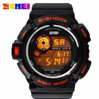 SKMEI S-Shock Men's Military Sport Large Dial Full Digital Time Rubber Strap Watch (Orange)