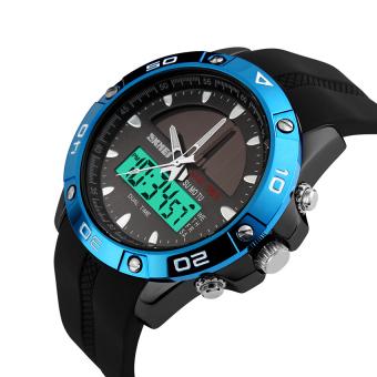 SKMEI Solar Power Watch Waterproof Sports Watches Men Women Digital Analog EL Light Outdoor Swimming Diving Watch (Blue) - Intl - 2