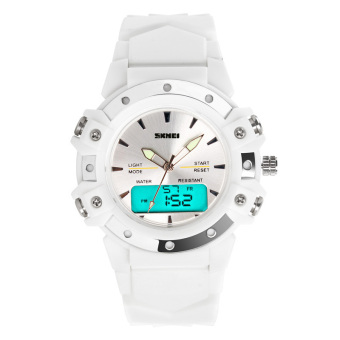 SKMEI Unisex Sport Waterproof Rubber Strap Wrist Watch -White 0821