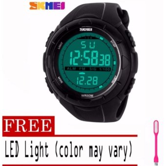 SKMEI Waterproof Fashion New Digital Military Green Band Men Sport Wrist Watch with free LED Light (color may vary) Price Philippines