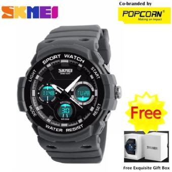 SKMEI WHSKWT031 Sport LED Dial and High Quality PU Strap Analog Quarts LED Digital Unisex Waterproof Watch with Free Skmei Gift Box