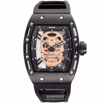 SKONE Brand Pirate Skull Style Quartz men's Watches for MenMilitary Silicone Strap Sports Wristwatch Waterproof 398702 - intl