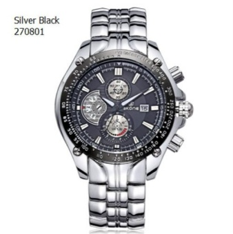SKONE Mens Steel Band Fashion Casual Watches Auto Date Luminous Analog Imported Quartz Movement Luxury Brand Business Watch Boys 2708 - intl