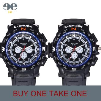 SMAEL C801 Fashion Men Black Silicone Strap Sport Quartz WristWatch/BUY ONE TAKE ONE Price Philippines