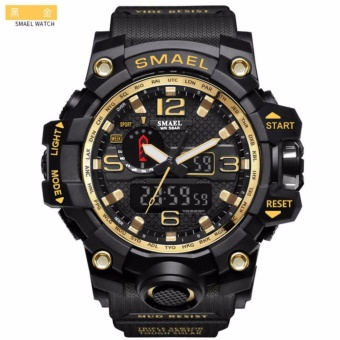 SMAEL Luxury Dual Display Watches Mens Military Quartz Watch Men Shock Resistant Sports Style Digital Clock - intl