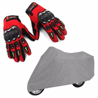 Small Motorcycle Cover (Gray) With Free High Quality JingpinMotorcycle Racing Outdoor Sports Full Finger Gloves (Red)