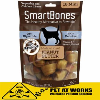 Smart Bone Mini Peanut Butter Dog Treats Chews (16 Pack) 258gVegetable & Chicken Chew For Pets and Dog Chew Bone Price Philippines