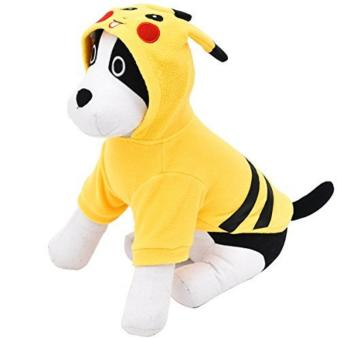 Smooch Pooch Pet Dogs Cotton Printed Clothes T Shirt with hood(Yellow) - Meduim - 5