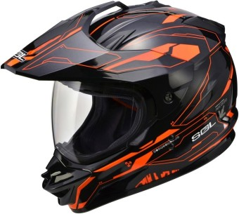 SOL Dual Sport Motard SS-1 Edge Motorcycle Helmet (Black/Orange)
