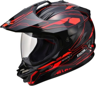 SOL Dual Sport Motard SS-1 Edge Motorcycle Helmet (Black/Red)