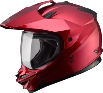 SOL Dual Sport Motard SS-1 Solid Motorcycle Helmet (Candy Red)
