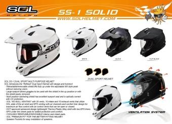 SOL Dual Sport Motard SS-1 Solid Motorcycle Helmet (Flat/Matte Black) - 3