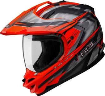 SOL Dual Sport Motard SS-1 Ultimate Motorcycle Helmet (Fluorescent/Neon/Orange)
