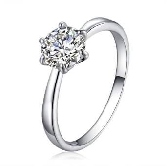Solitaire Ring Women's Engagement Cubic Zirconia Diamond Ring Solid 925 Sterling Silver Jewelry
