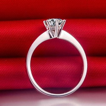 Solitaire Ring Women's Engagement Cubic Zirconia Diamond Ring Solid 925 Sterling Silver Jewelry - 5