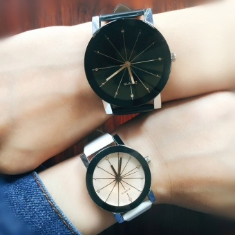 Special Promotion 2Pcs Couples Casual Pu Leather Watchband WristWatch (White-For Women Black-For Men) - intl