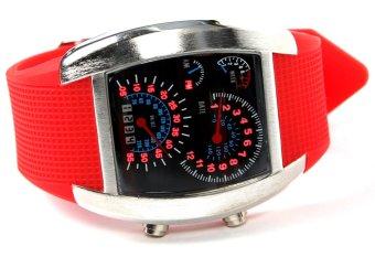 Sports RPM Turbo Blue Flash LED Women Wrist Watch Red