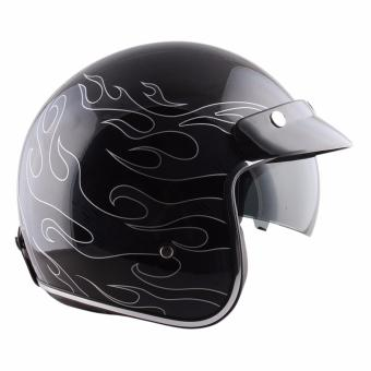 Spyder Open-Face Helmet with Retractable Smoke Visor Agiato GD 342(Black/Grey)-Medium