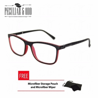 Square Clear Lens Replaceable Eyeglass with Spring Hinges Unisex_E126_BlackRed Optical Frame Replaceable Lens - Unisex
