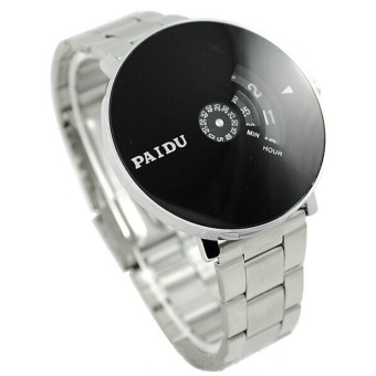Stainless Silver Band PAIDU Quartz Wrist Watch Black Turntable Dial Mens Gift (Silver)