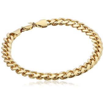 Stainless Steel 10mm Men's Cuban Curb Chain Link Bracelet (GoldPlated)