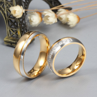 Stainless Steel 18k Gold Plated Wedding Engagement Band Couple Ring - intl:Men Size 12 - 3