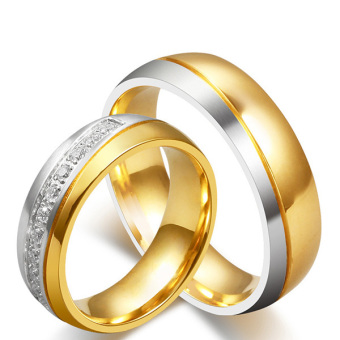 Stainless Steel 18k Gold Plated Wedding Engagement Band Couple Ring - intl:Women Size 8