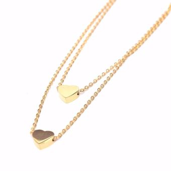 Stainless Steel Double Heart Necklace - Gold