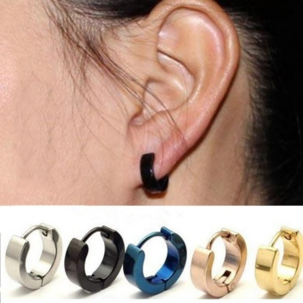 Stainless Steel Ear Stud Hoop Earrings Black - intl