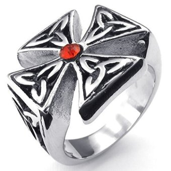 Stainless Steel Fashion Men's Rings Celtic Knot Cross CZ Ring (Intl) - picture 2