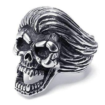 Stainless Steel Fashion Men's Rings Gothic Skull BikerBlack Silver- INTL