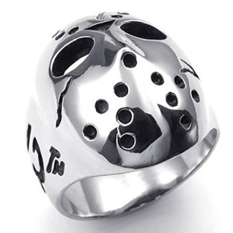 Stainless Steel Fashion Men's Rings Halloween Jason Mask Polishing- INTL - picture 2