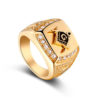 Stainless Steel Freemason Ring CZ Diamond Men Gold Masonic Jewelry