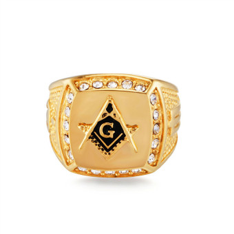 Stainless Steel Freemason Ring CZ Diamond Men Gold Masonic Jewelry - 2