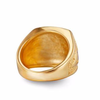 Stainless Steel Freemason Ring CZ Diamond Ring Men Gold MasonicRing - intl - 5