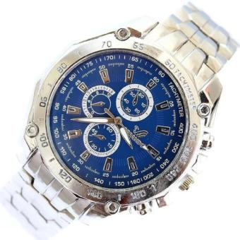 Stainless Steel Strap Quartz Man Waterproof Business Watch (Blue)