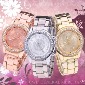 Star G-33 Crystal Stainless Steel Ladies Bracelet Strap Watch Setof 3 (Gold/Silver/RoseGold)
