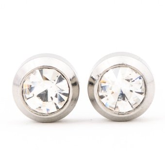 Steel Round Bezel Stud Earrings 6mm (Silver)