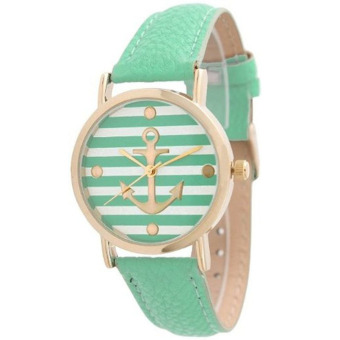 Striped Anchor Style Leather Watch Mint Green