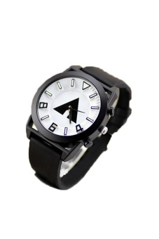 Students Big Dail Unisex Black Silicone Strap Watch 0506