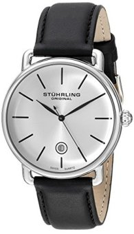 Stuhrling Original Ascot Mens Designer Watch - Swiss Quartz SilverDial Date Wrist Watch for Men - Stainless Steel Analog Watch withBlack Leather Strap 768.01(*USA*) - intl