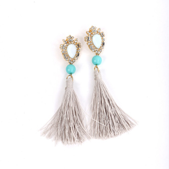 Style Bohemian happy seaside gem beaded bracelet earrings tassled earrings