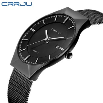 Stylish guy's Korean-style waterproof steel mesh belt quartz watch
