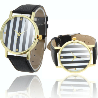 Stylish Ladies Quartz Wrist Watch Strips in 2 Colors Design Black