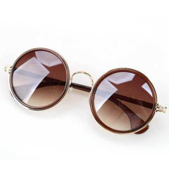 Stylish Retro Round Circular Sunglasses Decor for Women Girls Brown Price Philippines