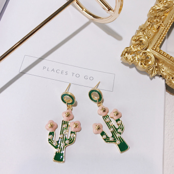 Summer Japanese and Korean style cactus Pearl diamond set earrings