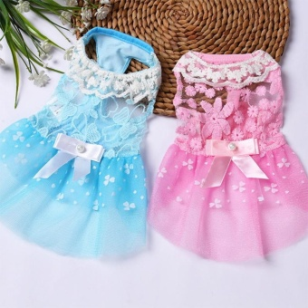 Summer Pet Dog Dress Wedding Party Dog Cat Princess Tutu Skirt SoftPuppy Clothes for Small Dog Teddy Color:Blue Size:10 yards S - intl - 2