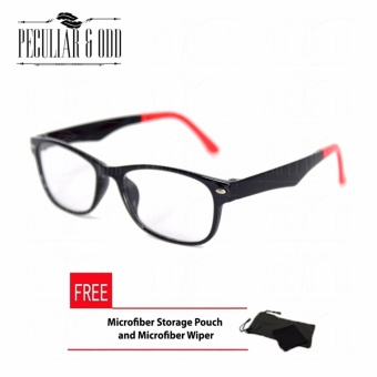 SUN Flexible-Lightweight 173_BlackRed Frame Computer Eyeglasses Replaceable Lens Optical Frame Replaceable Lens - Unisex