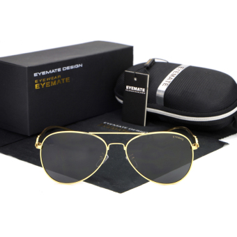 Sunglasses Men Polarized Pilot Sun Glasses BlackGold Color BrandDesign - Intl Price Philippines