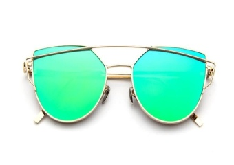 Sunglasses Women Fashion Summer Style Sun glasses for WomenDesigner Twin-Beams Shades(Gold frame Green mirror) - intl
